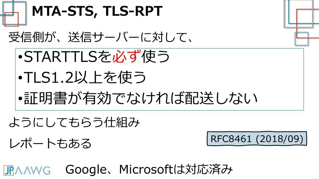 MTA-STS, TLS-RPT •STARTTLSを必ず使う •TLS1.2以上を使う •証...