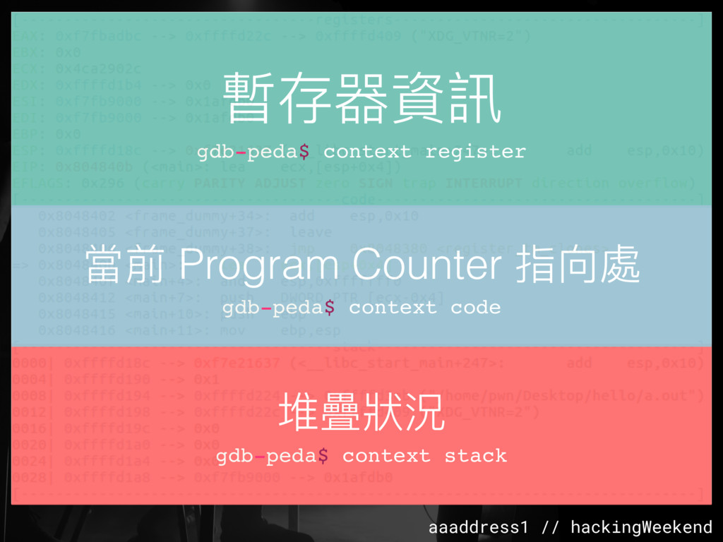 aaaddress1 // hackingWeekend 暫存器資訊 gdb-peda$ co...