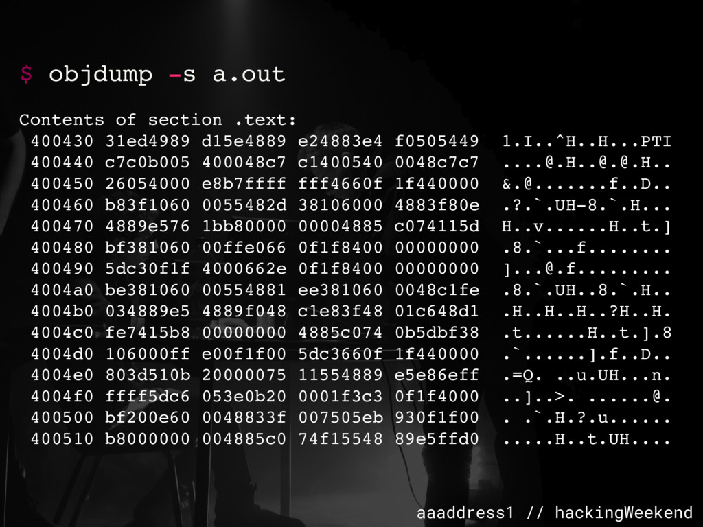 aaaddress1 // hackingWeekend $ objdump -s a.out...