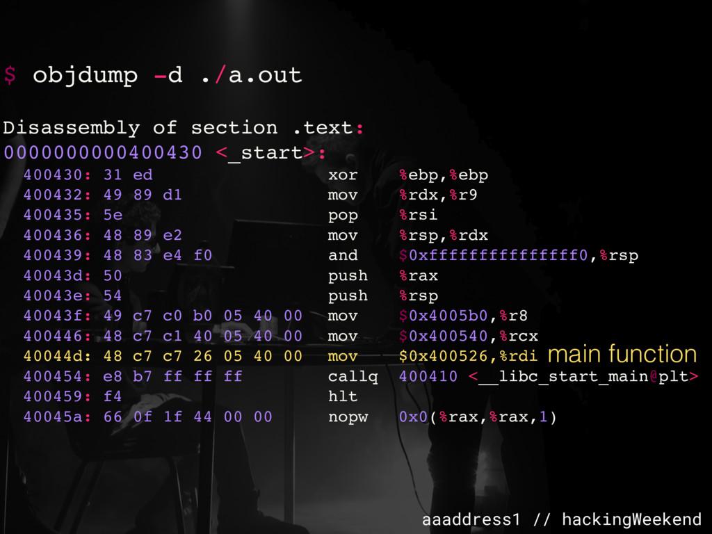 aaaddress1 // hackingWeekend $ objdump -d ./a.o...