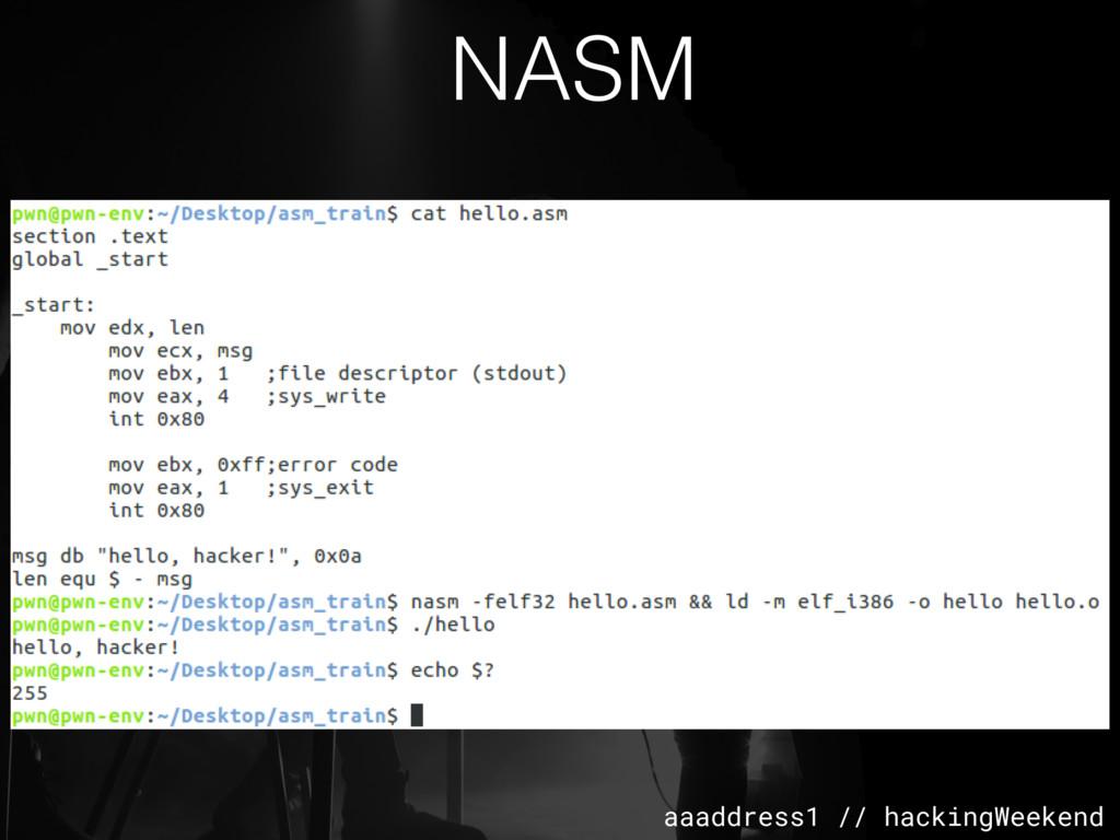 aaaddress1 // hackingWeekend NASM