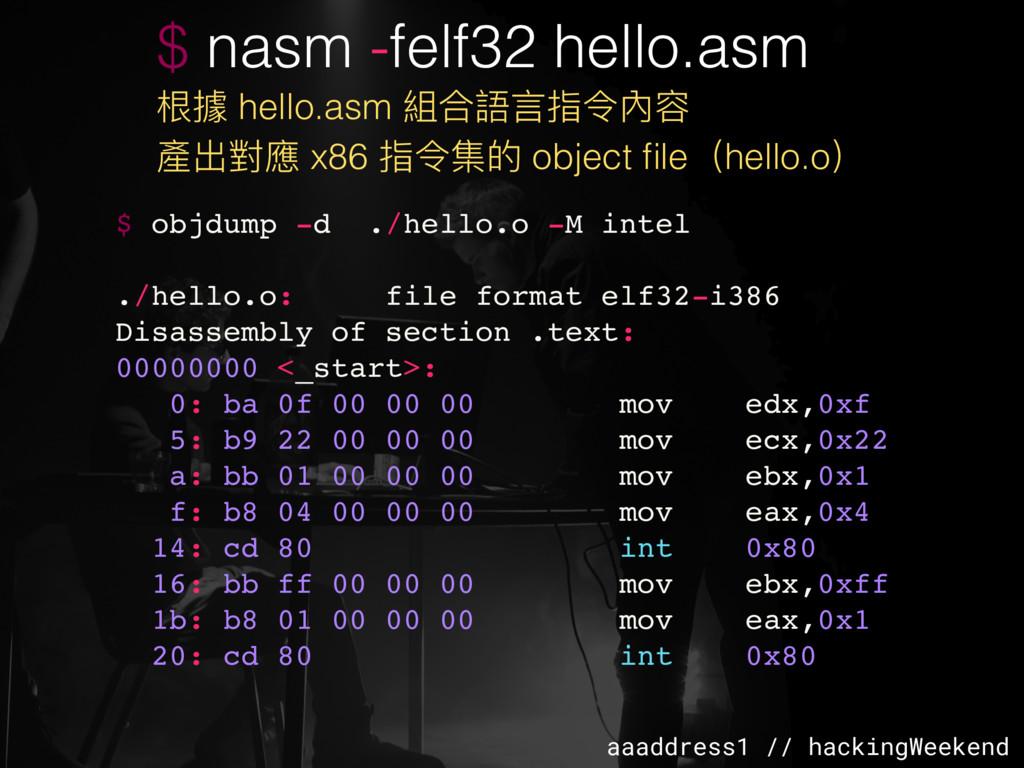 aaaddress1 // hackingWeekend $ nasm -felf32 hel...