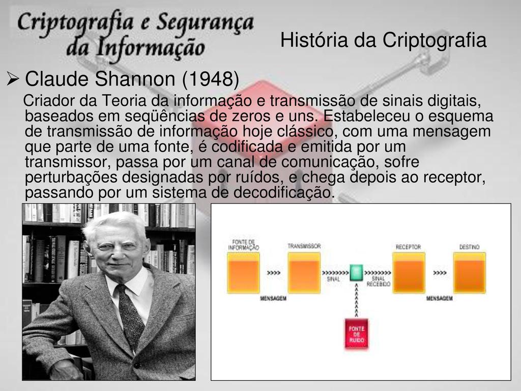 História da Criptografia  Claude Shannon (1948...