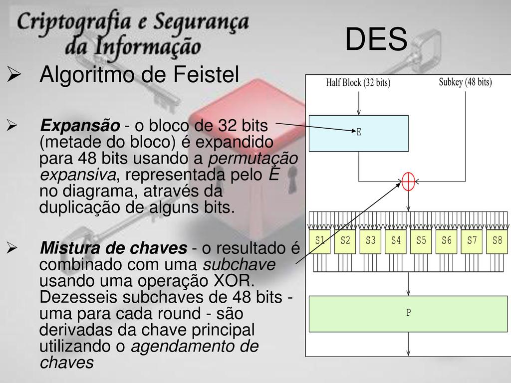 DES  Algoritmo de Feistel  Expansão - o bloco...