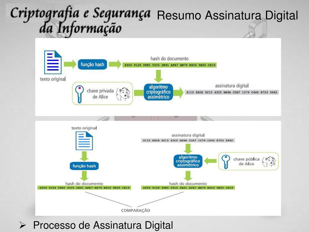 Resumo Assinatura Digital  Processo de Assinat...
