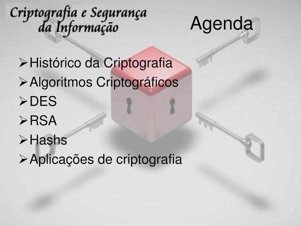 Agenda Histórico da Criptografia Algoritmos C...