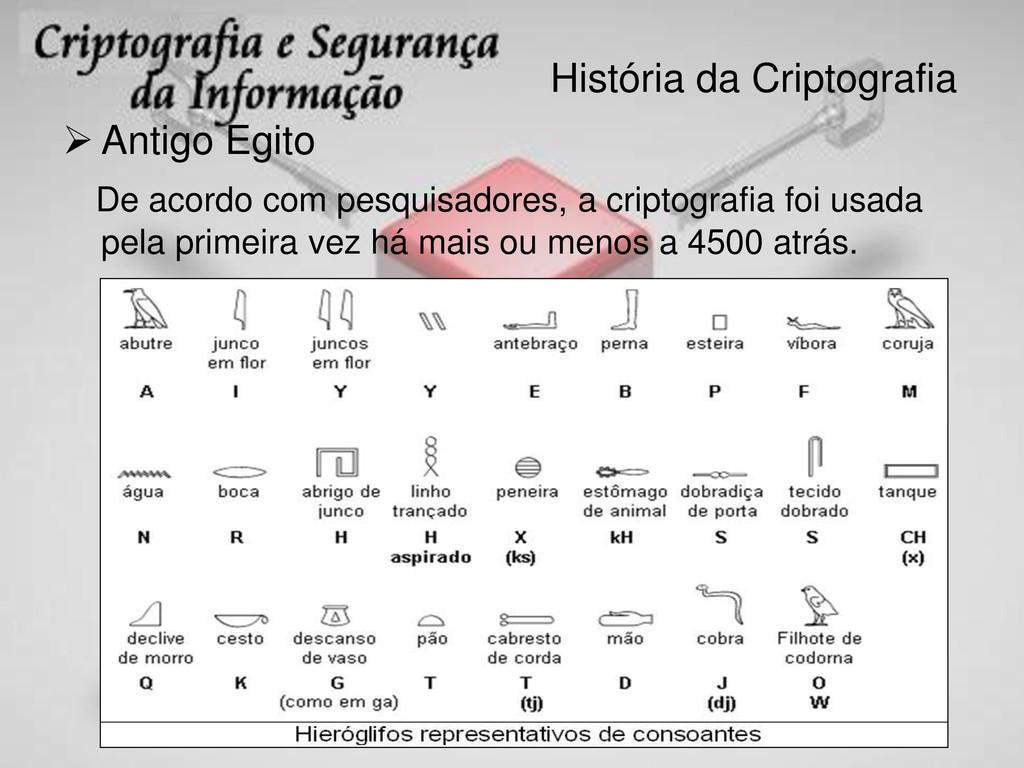 História da Criptografia  Antigo Egito De acor...