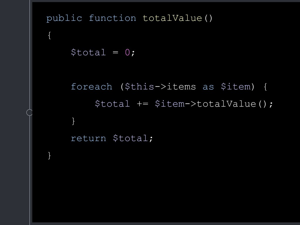 public function totalValue() { $total = 0; fore...