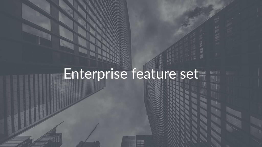 Enterprise feature set