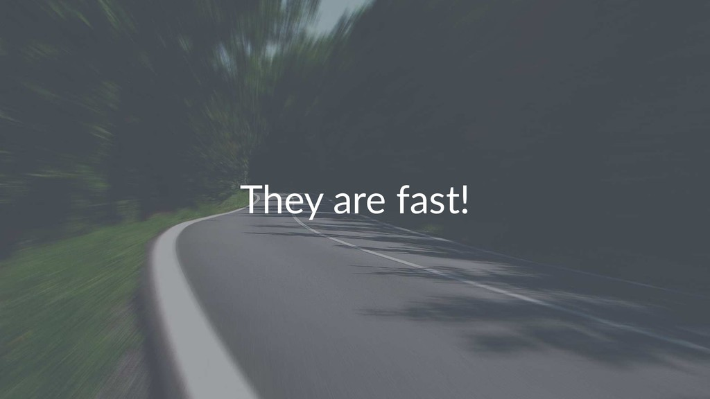 They are fast!