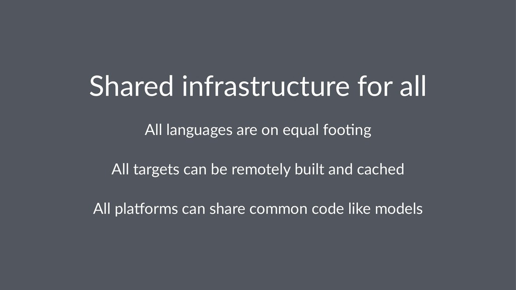 Shared infrastructure for all All languages are...