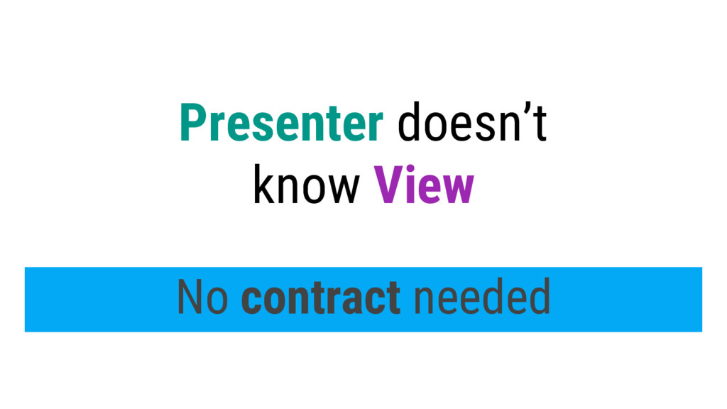 Presenter doesn't know View No contract needed