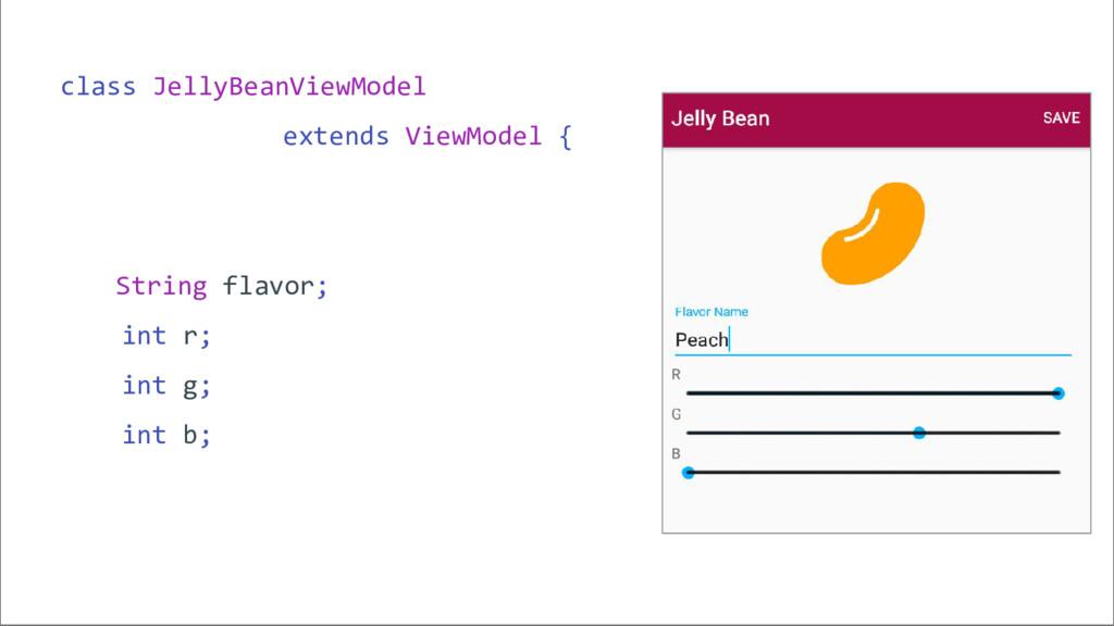 class JellyBeanViewModel extends ViewModel { St...