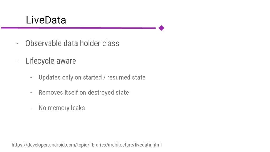 LiveData - Observable data holder class - Lifec...