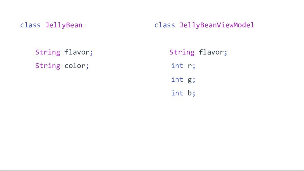 class JellyBeanViewModel String flavor; int r; ...