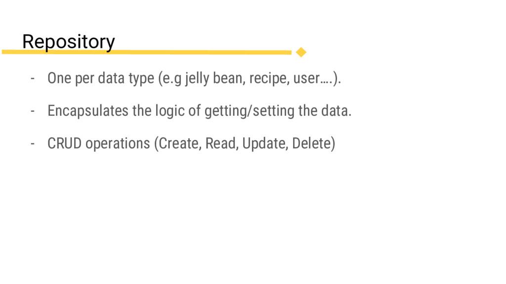 - One per data type (e.g jelly bean, recipe, us...