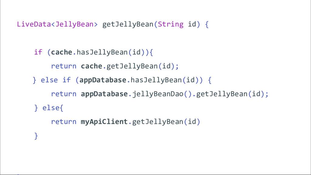 LiveData<JellyBean> getJellyBean(String id) { i...