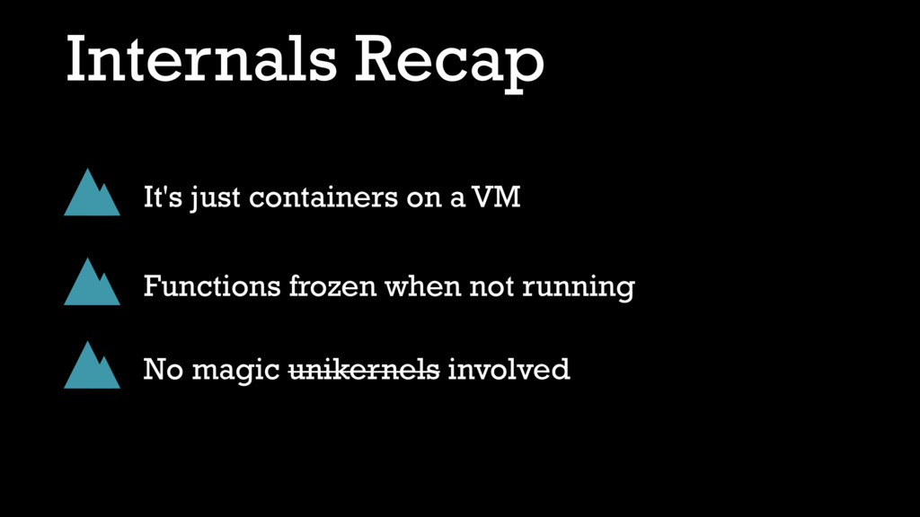 Internals Recap It's just containers on a VM Fu...