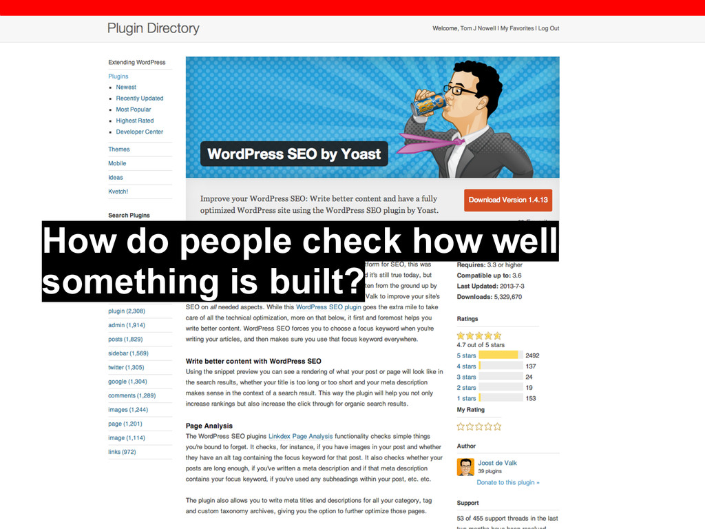 How do people check how well something is built?