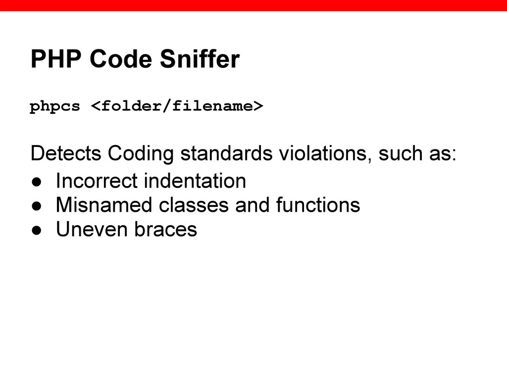 PHP Code Sniffer phpcs <folder/filename> Detect...