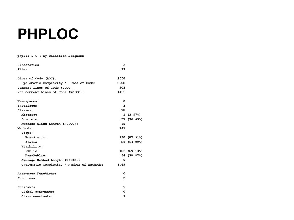 PHPLOC phploc 1.6.4 by Sebastian Bergmann. Dire...