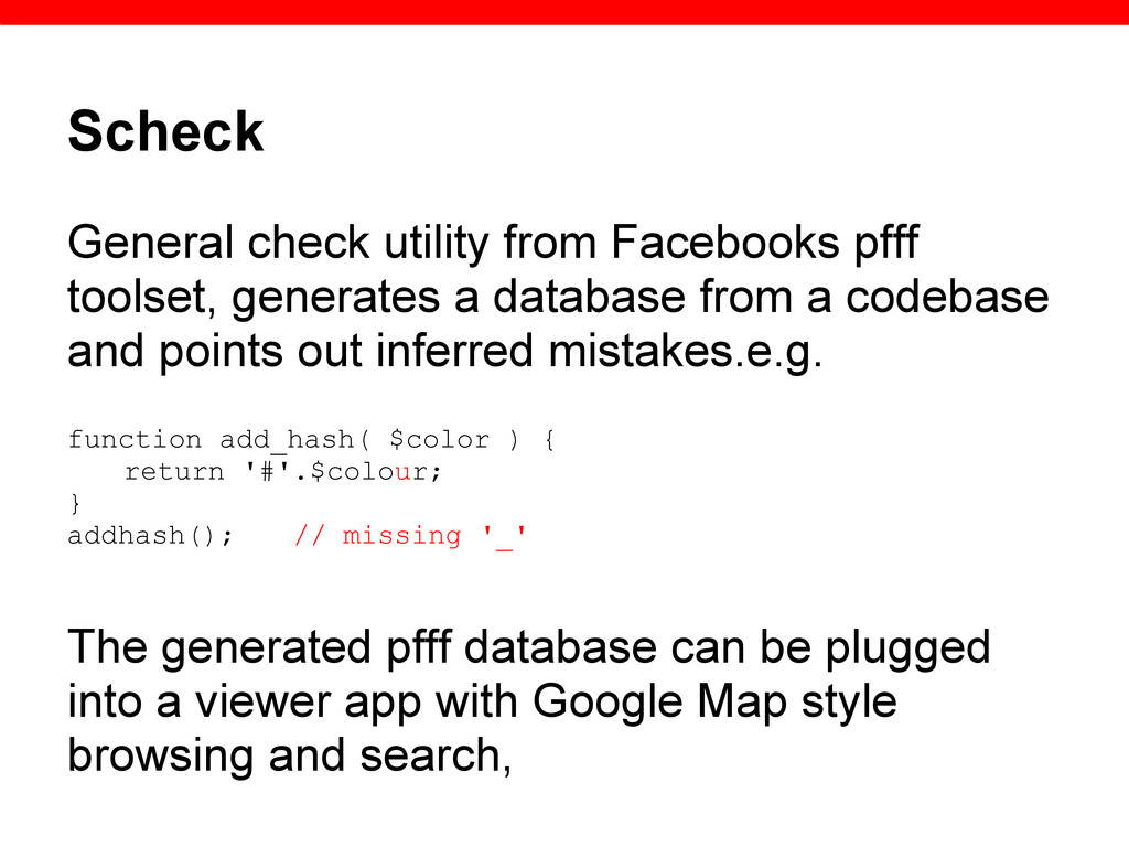 Scheck General check utility from Facebooks pff...