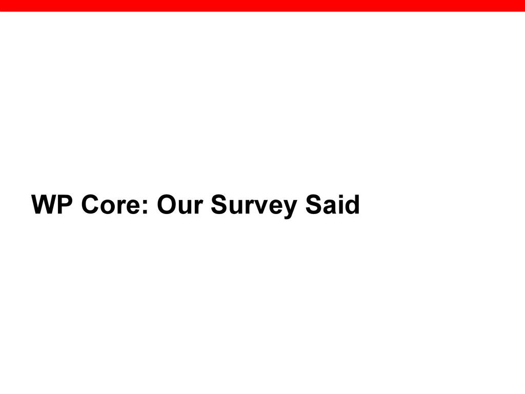 WP Core: Our Survey Said