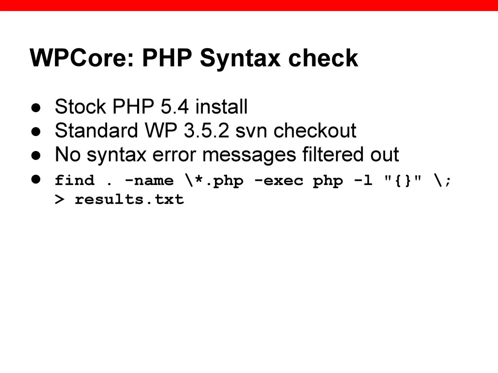 WPCore: PHP Syntax check ● Stock PHP 5.4 instal...