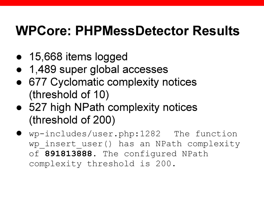 WPCore: PHPMessDetector Results ● 15,668 items ...