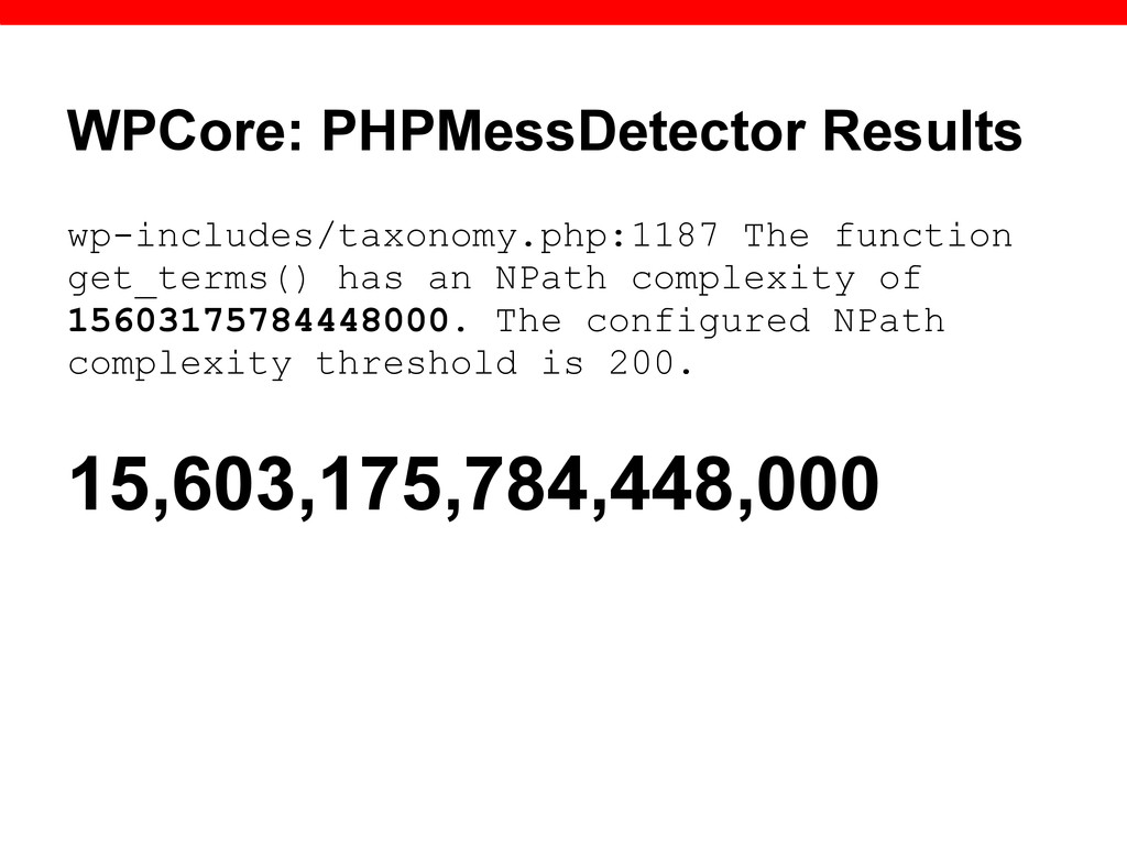 WPCore: PHPMessDetector Results wp-includes/tax...