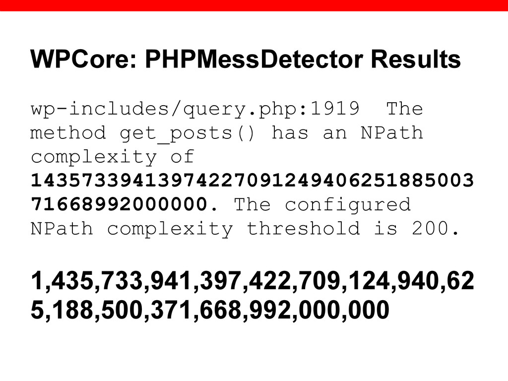 WPCore: PHPMessDetector Results wp-includes/que...