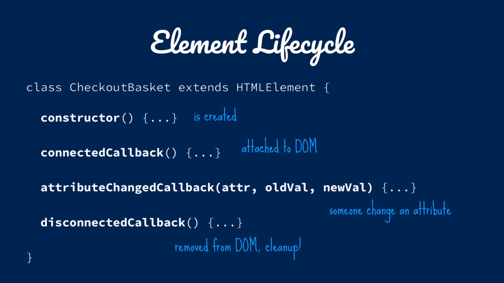 Element Lifecycle class CheckoutBasket extends ...