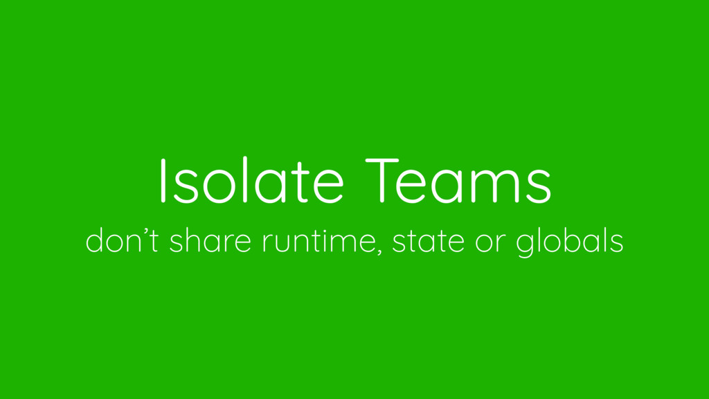 Isolate Teams don't share runtime, state or glo...