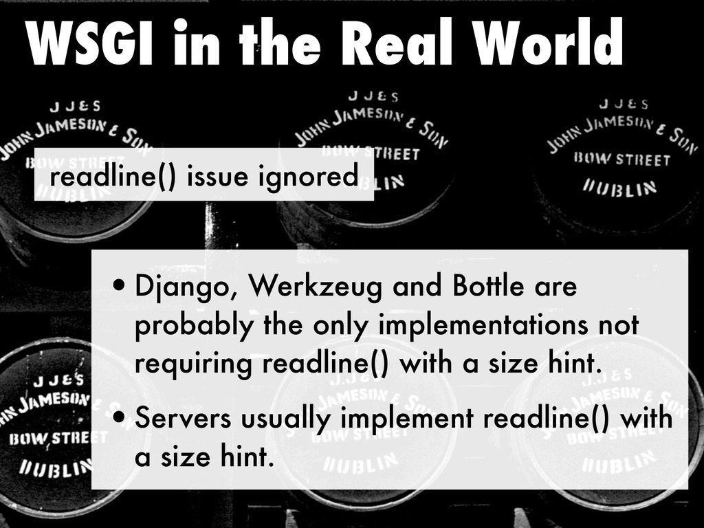 readline() issue ignored WSGI in the Real World...