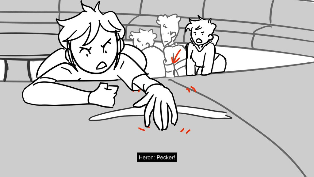 Scene 18 Panel 7 Dialog Heron: Pecker! Page 119...
