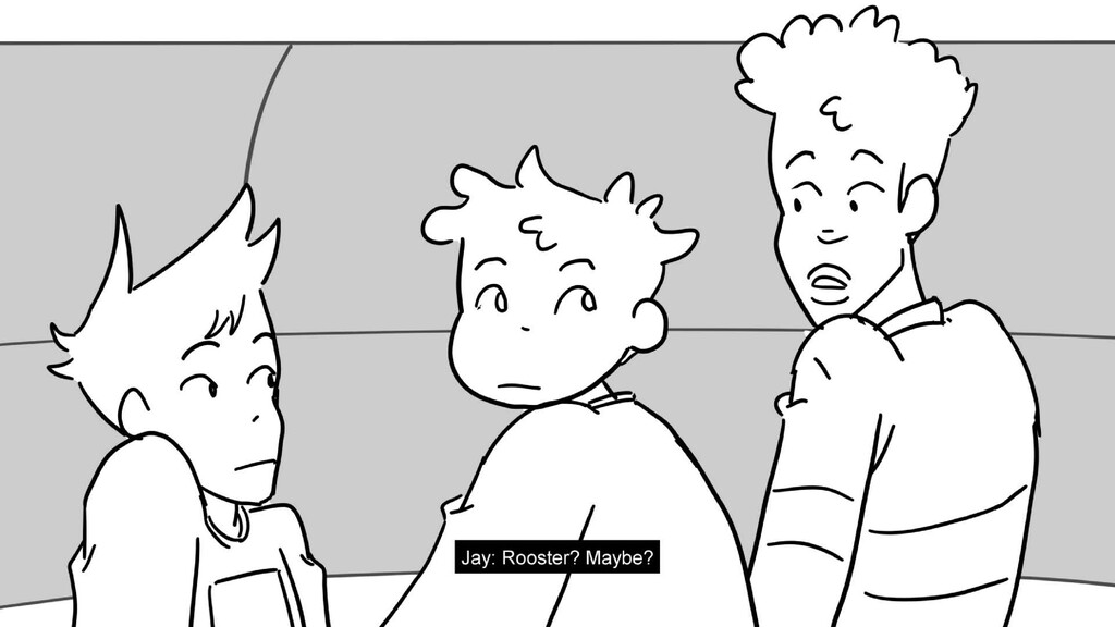 Scene 20 Panel 7 Dialog Jay: Rooster? Maybe? Pa...