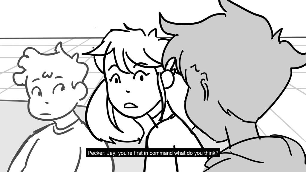 Scene 10 Panel 1 Dialog Pecker: Jay, you're fir...
