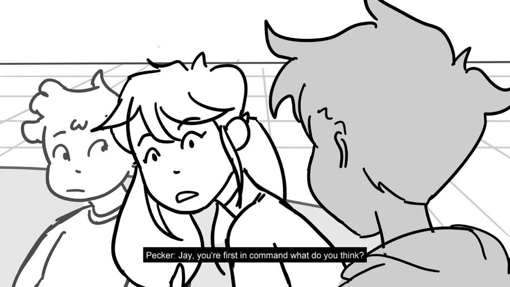 Scene 10 Panel 2 Dialog Pecker: Jay, you're fir...