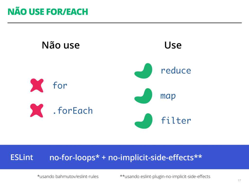 NÃO USE FOR/EACH 17 for reduce map .forEach fil...