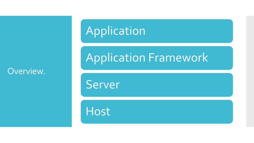Overview. Application Application Framework Ser...