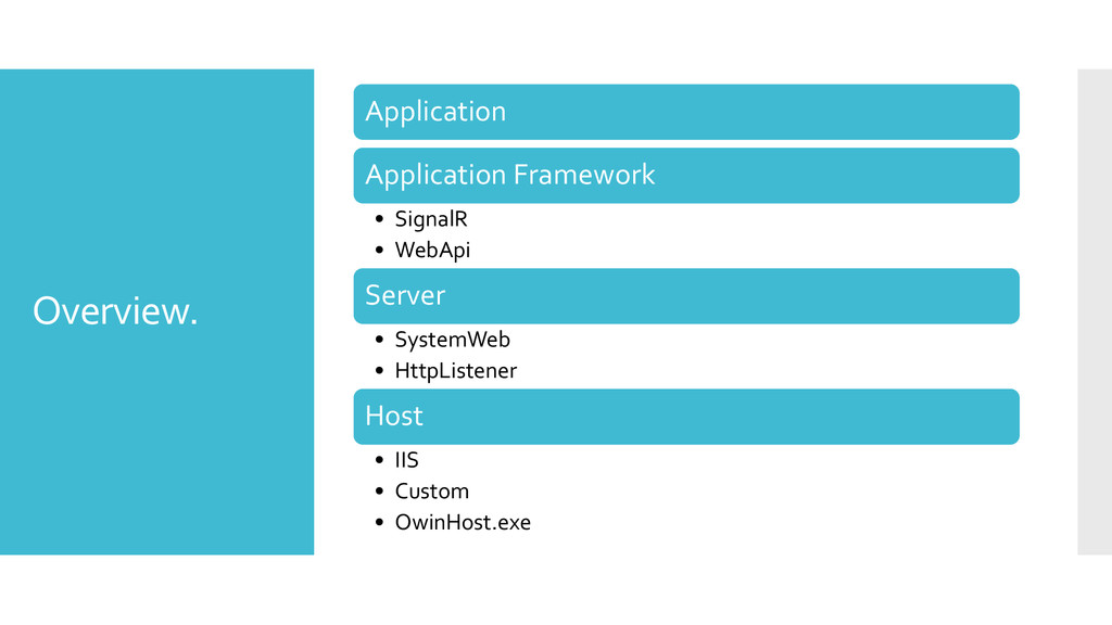 Overview. Application Application Framework • S...