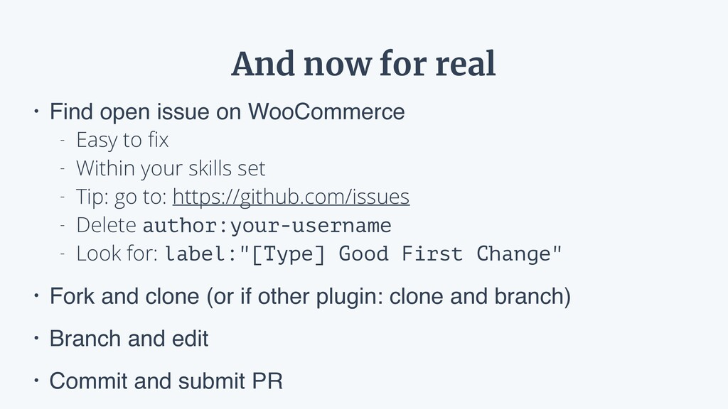 And now for real • Find open issue on WooCommer...
