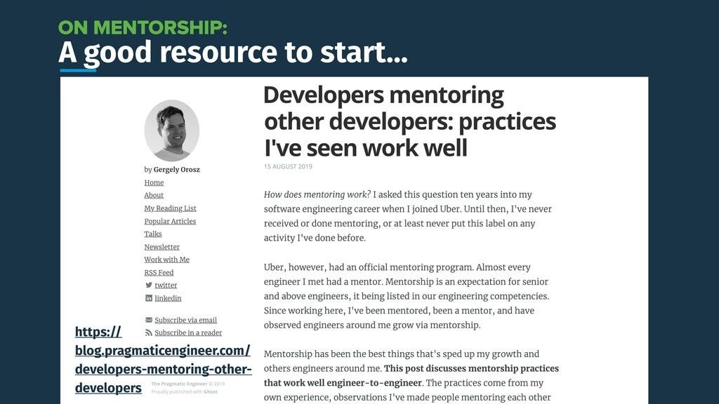 A good resource to start… https:// blog.pragmat...