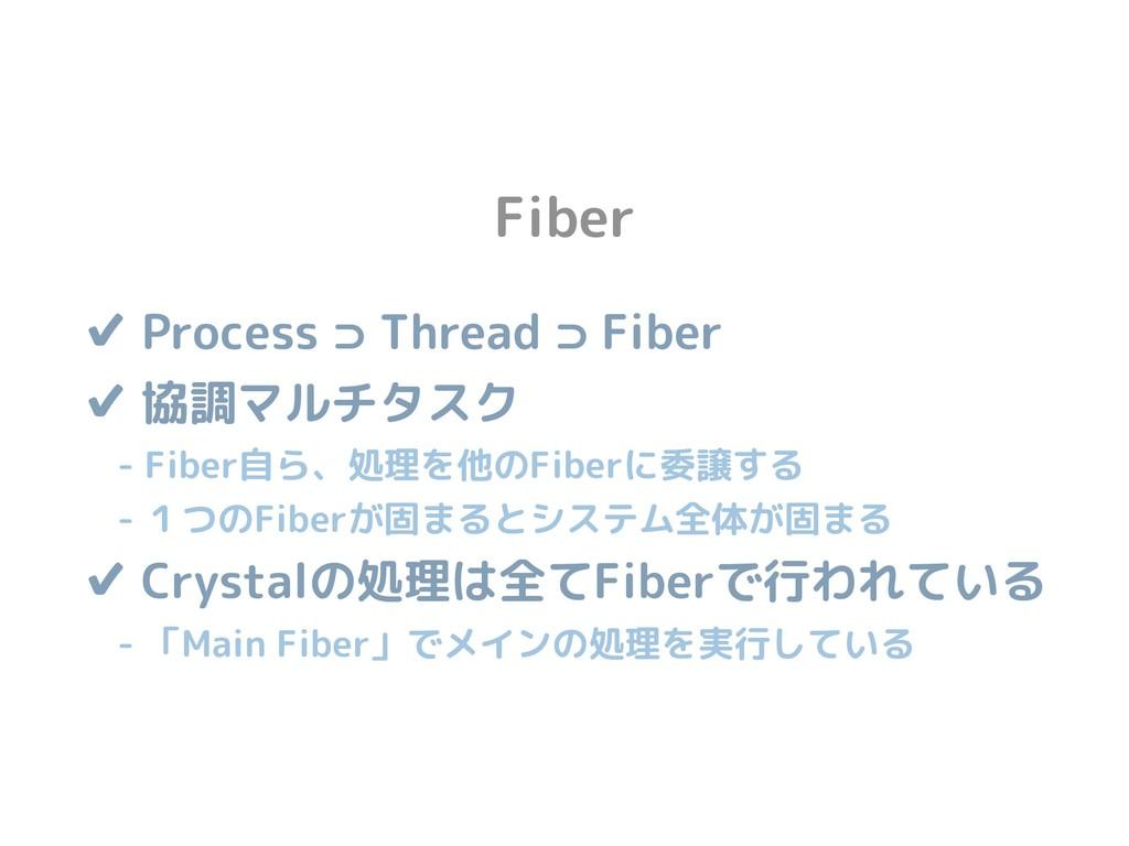 Fiber ✔ Process ⊃ Thread ⊃ Fiber ✔ 協調マルチタスク  ...