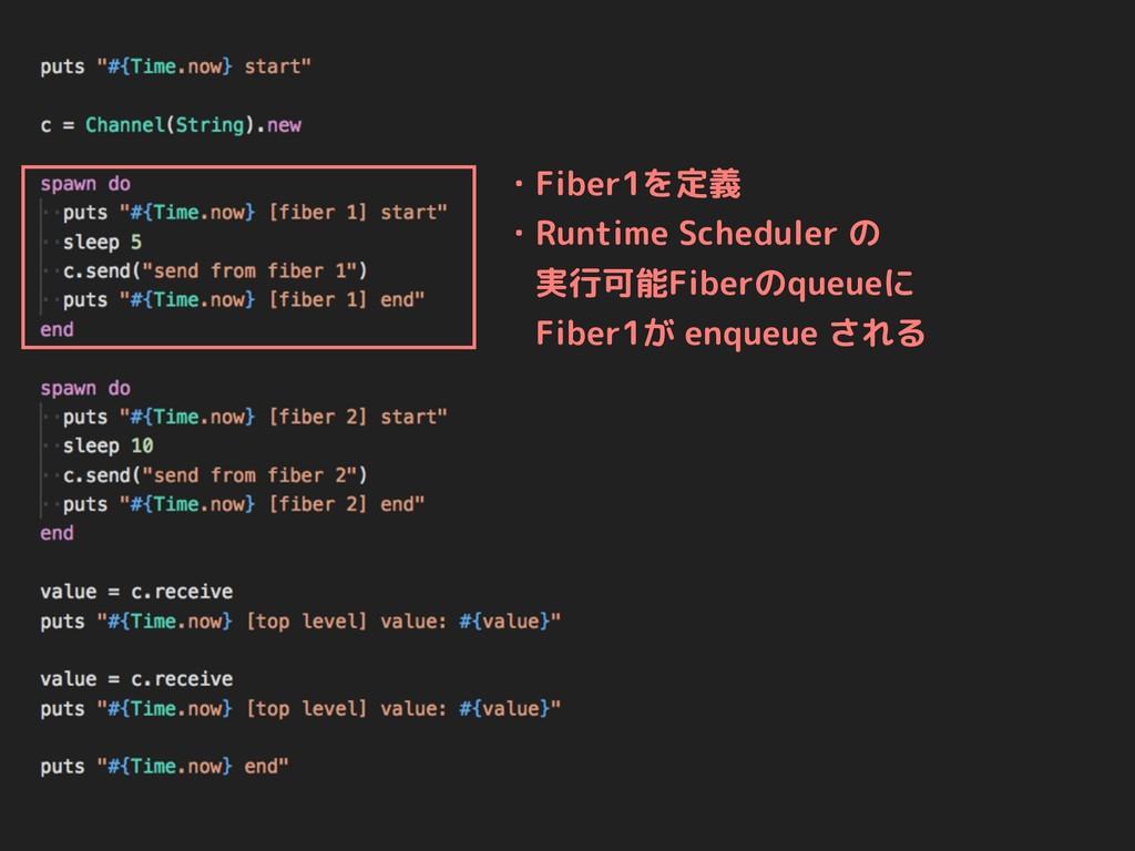 ・Fiber1を定義 ・Runtime Scheduler の  実行可能Fiberのqueu...