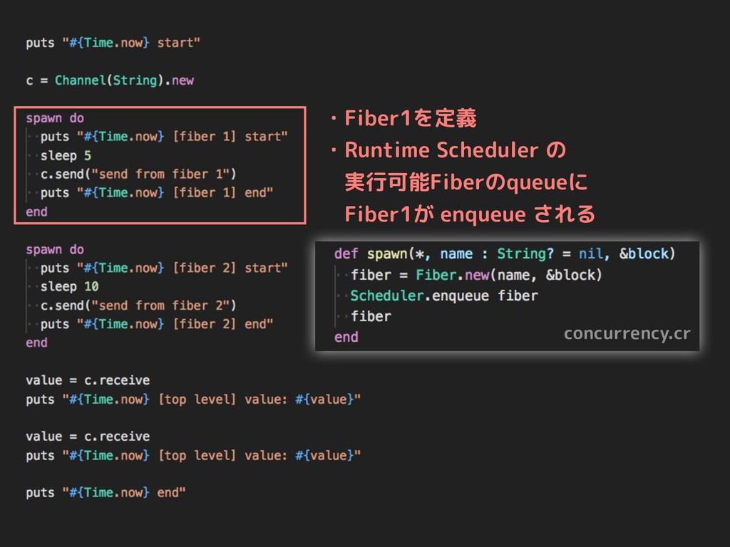 concurrency.cr ・Fiber1を定義 ・Runtime Scheduler の ...