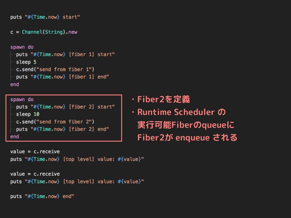 ・Fiber2を定義 ・Runtime Scheduler の  実行可能Fiberのqueu...