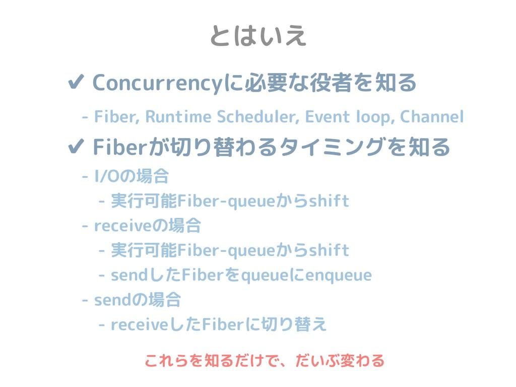 とはいえ ✔ Concurrencyに必要な役者を知る  - Fiber, Runtime ...