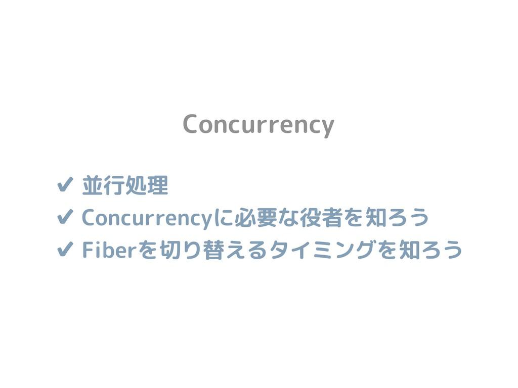 ✔ 並行処理 ✔ Concurrencyに必要な役者を知ろう ✔ Fiberを切り替えるタイ...