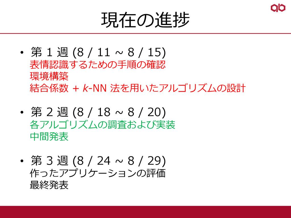現在の進捗 • 第 1 週 (8 / 11 ~ 8 / 15) 表情認識するための手順の確認 ...